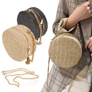 Women Round Rattan Crossbody Bag Summer Straw Bags